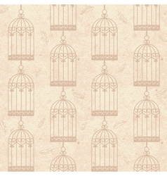Seamless old cardboard texture with bird cage vector