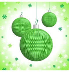 Three green knitted christmas balls vector