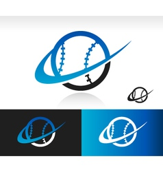 Swoosh baseball logo icon vector