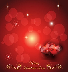 Festive greeting card with two hearts valentines d vector