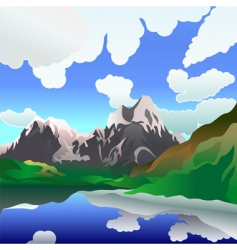 Landscape with mountain lake vector