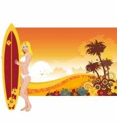 Woman surfer vector