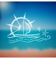 Label marine theme vector image
