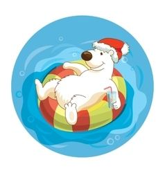 Little cute white bear wearing santa hat is vector