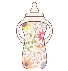 Baby feeding bottle vintage vector