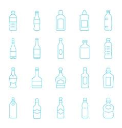 Thin lines icon set - bottle and beverage vector