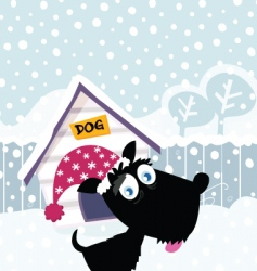 Cartoon christmas dog vector