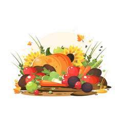 autumn harvest of vegetables and fruits vector image vector image