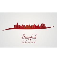 Bangkok skyline in red vector image