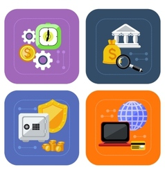 Banking and finance investment icon set vector image