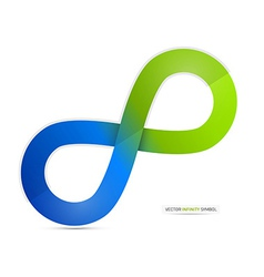 Blue and green paper infinity symbol isolated on vector