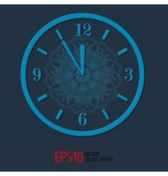 Blue elegant vitage clock for new year and vector