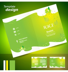 Brochure folder juice fruit drops liquid fruit vector