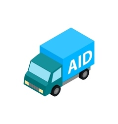 Car humanitarian aid icon isometric 3d style vector image vector image