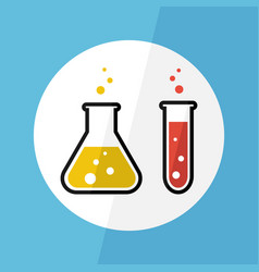 chemical substance in flask and test tube vector image vector image