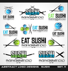 collection of sushi restaurant flat style logo vector image vector image