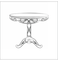 Elegant classic round table in baroque style vector