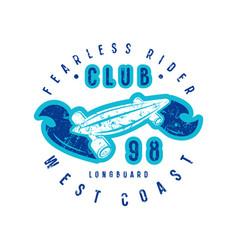 emblem of longboard club vector image