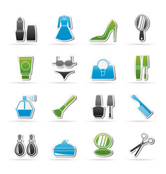 female objects and accessories icons vector image vector image