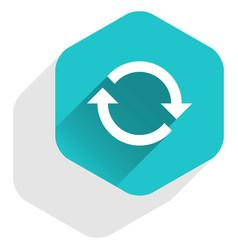 Flat arrow sign refresh icon hexagon button vector