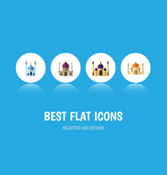 flat icon mosque set of traditional religion vector image vector image
