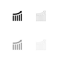 growing graph black and grey set icon vector image vector image