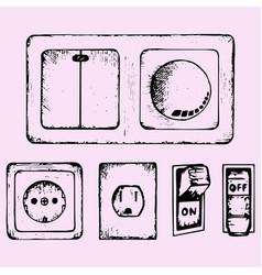 light switch socket vector image