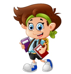 Little boy holding books vector