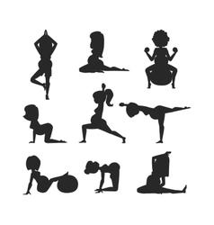 Meditating on yoga pregnant woman character vector