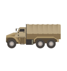 military truck with trunk upholstered with tent vector image vector image
