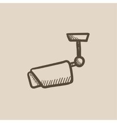 Outdoor surveillance camera sketch icon vector