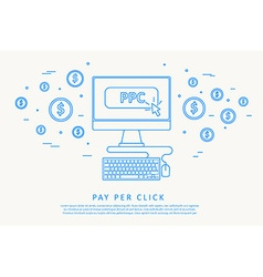 Pay per click concept thin line design vector