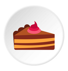 Piece of cake with cream icon circle vector