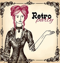Retro party invitation design vector image