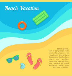 Sea rest concept beach swimming cartoon style vector