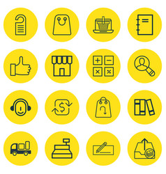 Set of 16 ecommerce icons includes bookshelf vector