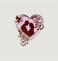 Silhouette of heart with boy girl and cupid vector