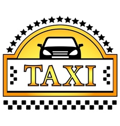 taxi icon with star and car silhouette vector image vector image