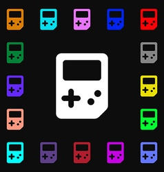 Tetris icon sign Lots of colorful symbols for your vector image vector image