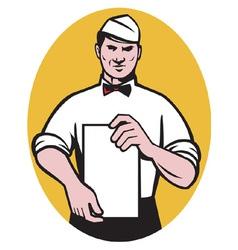 Waiter holding a blank menu vector