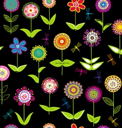 Whimsical flowers background vector image vector image