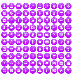 100 natural disasters icons set purple vector