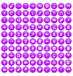 100 usa icons set purple vector
