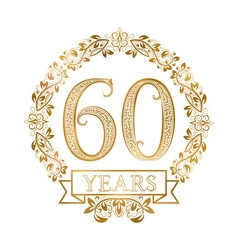 Golden emblem of sixtieth years anniversary in vector image