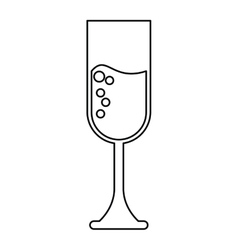 Cup glass champagne love celebration outline vector