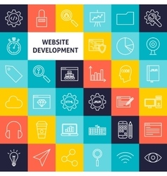 Line website development icons vector