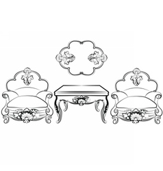 Imperial classic furniture set vector