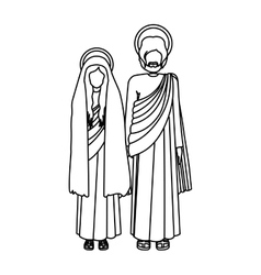 Silhouette virgin mary and saint joseph standing vector