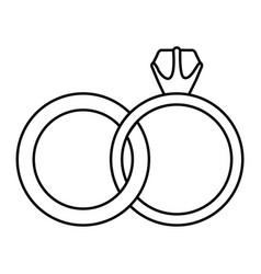 Black silhouette of wedding rings vector