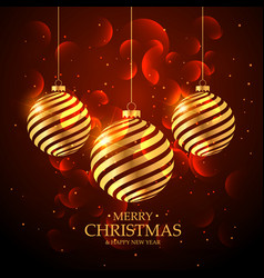 Artistic golden christmas ball decoration on red vector